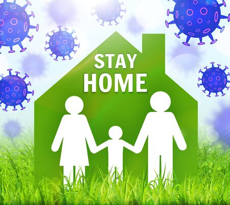 Stay safe, stay inside home. Save planet from COVID-19 coronavirus. Quarantine precaution to stay safe. Vector illustration Vecteurs