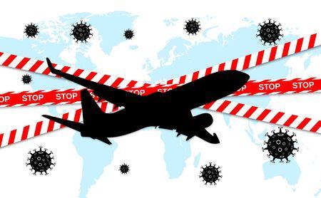 Dangerous novel coronavirus COVID-19. Stop airplane flying. Pandemic medical health risk. Vector illustration