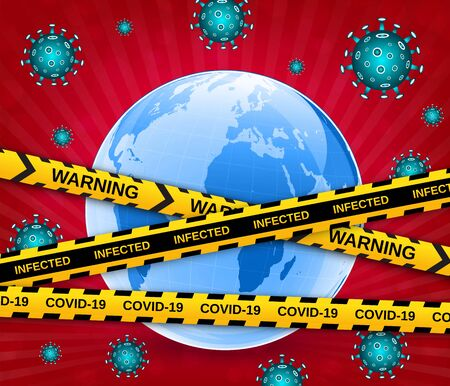 Earth globe in a medical mask with viruses and caution barrier tapes. Dangerous pandemic COVID-19 coronavirus outbreak. Vector illustration