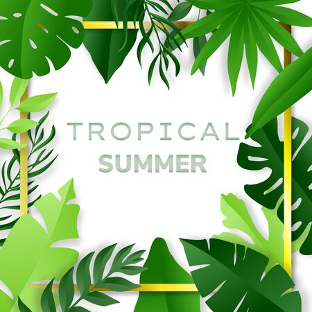 Green tropical leaves frame. Summer background. Paper cut style. Vector illustration