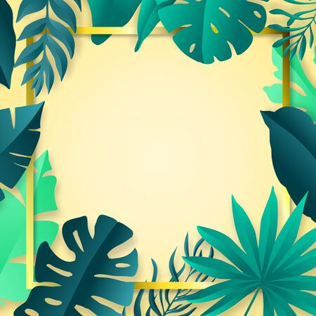 Tropical leaves frame. Summer background. Paper cut style. Vector illustration
