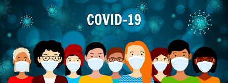 People in medical mask. Coronavirus outbreak concept. COVID-19 danger and public health risk disease and flu outbreak. Vector illustration