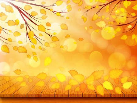 Wooden table with orange leaves. Autumn nature background. Vector illustration