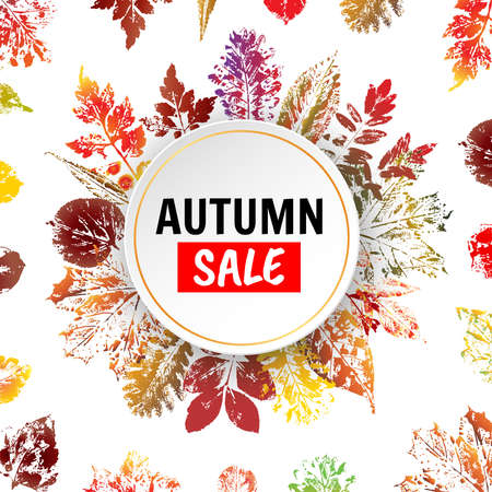 Autumn sale background with colorful leaves imprints. Vector illustration
