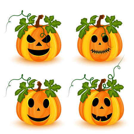Set of Halloween pumpkins with different faces isolated on white background. vector illustration Vecteurs
