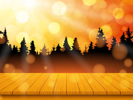 Golden autumn landscape with pine forest and empty rustic wooden table for background. Vector illustration Vettoriali