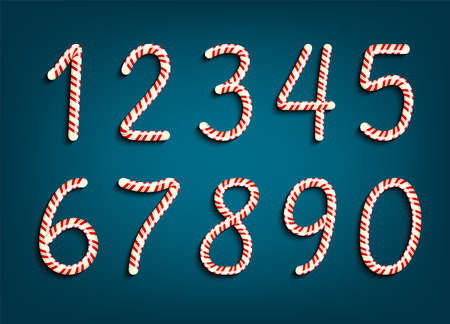 Numbers set in red and white swirl candy style