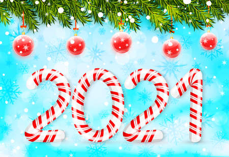 Merry Christmas and Happy New Year with 2021 in red and white swirl candy style and evergreen christmas tree branches. Vector illustration Ilustração