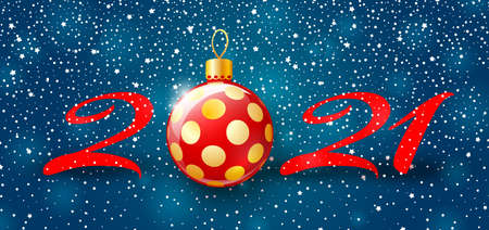 Merry Christmas and Happy New Year 2021 banner. Holiday vector illustration with snow background, red number and christmas ball