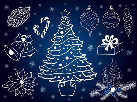 Vector set of hand drawn christmas elements on blue background Ilustração