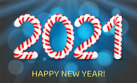 Merry Christmas and Happy New Year with 2021 in red and white swirl candy style. Vector illustration