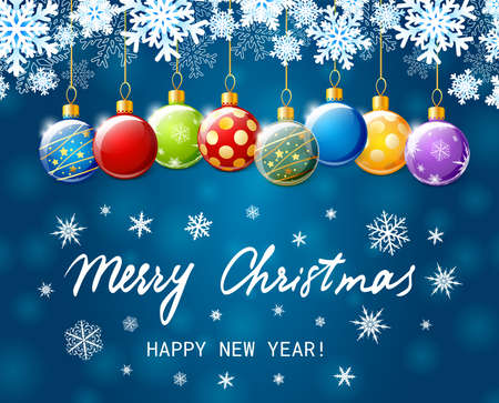 Merry Christmas and Happy New Year banner. Holiday vector illustration with colorful Christmas balls and paper snowflakes on blue background Ilustração