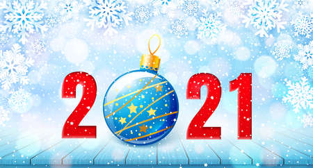 Merry Christmas and Happy New Year 2021 banner. Holiday vector illustration with paper snowflakes background, red number and christmas ball on wooden table