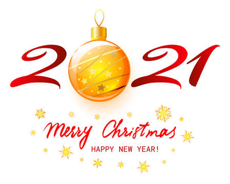 Merry Christmas and Happy New Year 2021. Vector illustration Ilustração