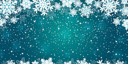 Christmas background with snowflakes frame on blue. Vector illustration
