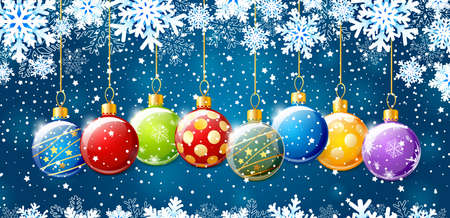 Colorful Christmas balls and paper snowflakes on blue