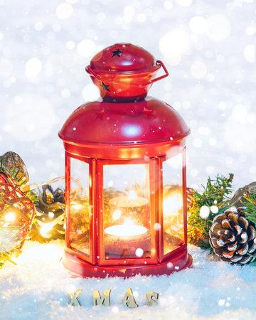 Christmas Lantern with decorations on snow Banco de Imagens