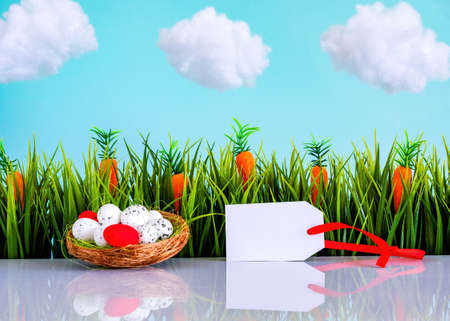 Easter background with colorful eggs, green grass, tag and blue sky with white clouds