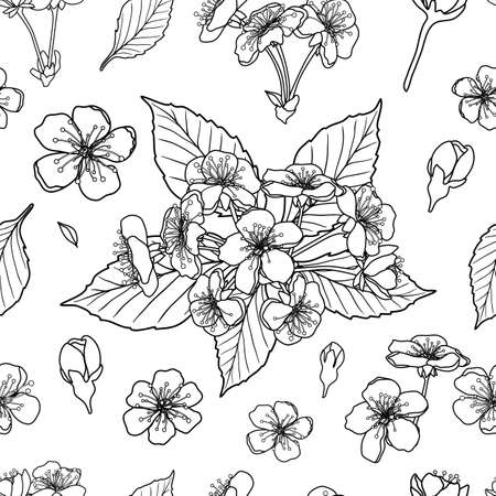 Black and white cherry flowers seamless pattern background. Vector illustration