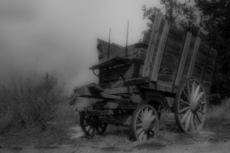 Wagon Lost in Time B&W Imagens