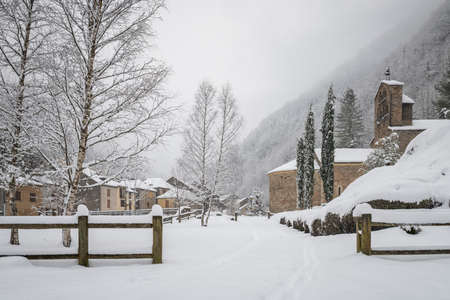 Salau french village in the pyrenees under the snow
