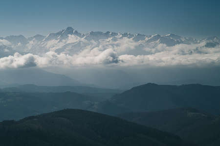 clouds over the Pyrenees mountains in Ariege France