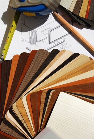 kitchen furniture: Color samples of particleboard