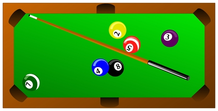 Pool table with balls.