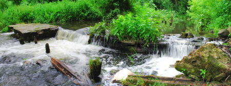 Waterfall in forest river. Belarus.Grodno region. River Lososinka Stock Photo