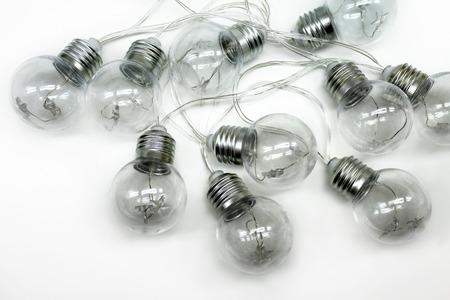 Festoon light bulbs isolated on white background.