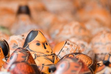 Variaty of Peruvian wood dolls found in markets of Peru.