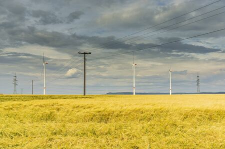Dramatic cloud sky over cornfield with dark rain clouds and power lines and wind turbines Stock Photo