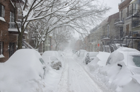 December 2012 Snow Storm of the Century, Montreal Stock Photo