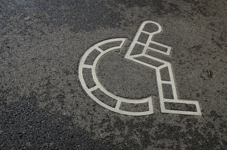 wheelchair symbol on the road   photo