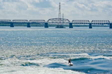 lawrence: Surf on the St-Lawrence river, Montreal, Quebec Stock Photo