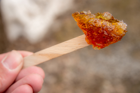 taffy: Maple taffy on a stick during sugar shack period