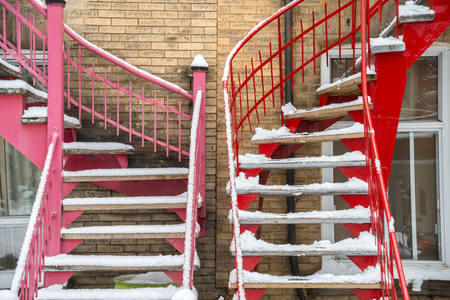Typical Montreal staircases in winter