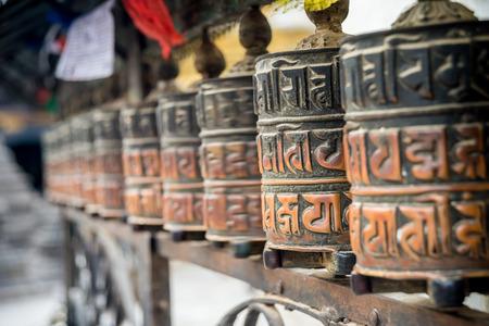 rotates: Close up of praying wheels in Kathmandu