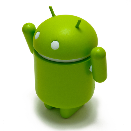android robot: Android robot with its arms up, celebrating victory