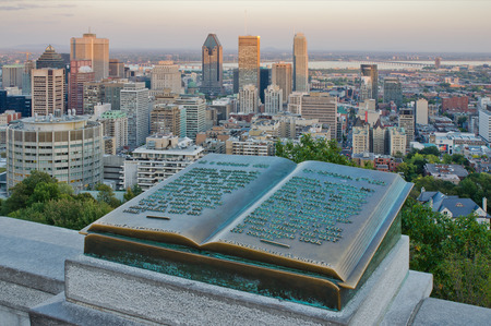 jacques: Downtown Montreal and Plaque of Jacques Cartier located on the Mount Royal Editorial