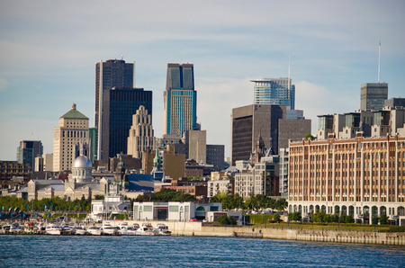 lawrence: Montreal Downtown and Saint-Lawrence River Stock Photo