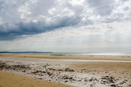 pas: Beach on the Cote dOpale near Calais, Pas de Calais, France. Parc naturel r�gional des Caps et Marais dOpale Stock Photo