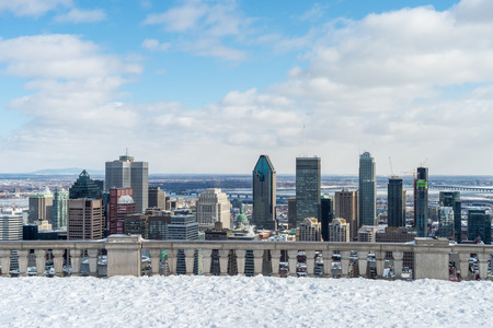 Montreal Skyline from Kondiaronk Belvedere / Mont-Royal in Winter Reklamní fotografie - 56577408