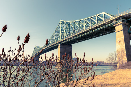 st jacques: Jacques-Cartier Bridge in Montreal, at sunset