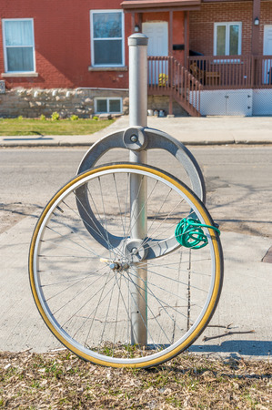 insecurity: Bike theft with locked wheel in Ottawa, Canada (vintage filter)