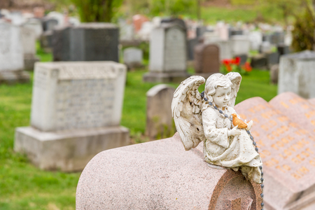 Statue of cherub holding a bird and sitting on a headstone in a cemetary Stockfoto