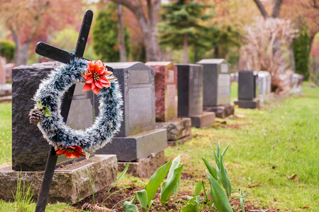 headstones: Funeral wreath with red flowers on a cross, in a cemetary, with many headstones in the background.