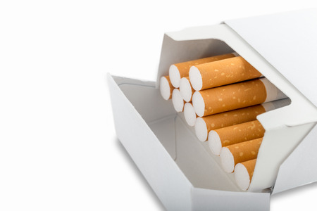 standardised: Side view of a pack of cigarettes - Plain tobacco packaging Stock Photo