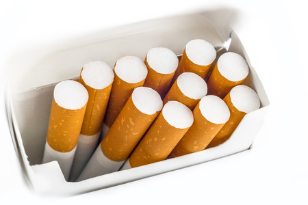 Top view of a pack of cigarettes over white background