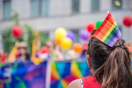 spectator: A female spectator with a rainbow flag hair stick is watching the gay pride parade in Toronto, Canada.
